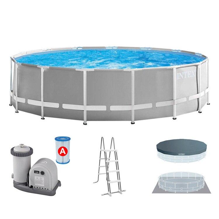 INTEX الأسرة حمام سباحة للأطفال 457*122 سنتيمتر حمامات التجديف المتضخم الكبار أنبوب رف حمام سباحة + الملحقات
