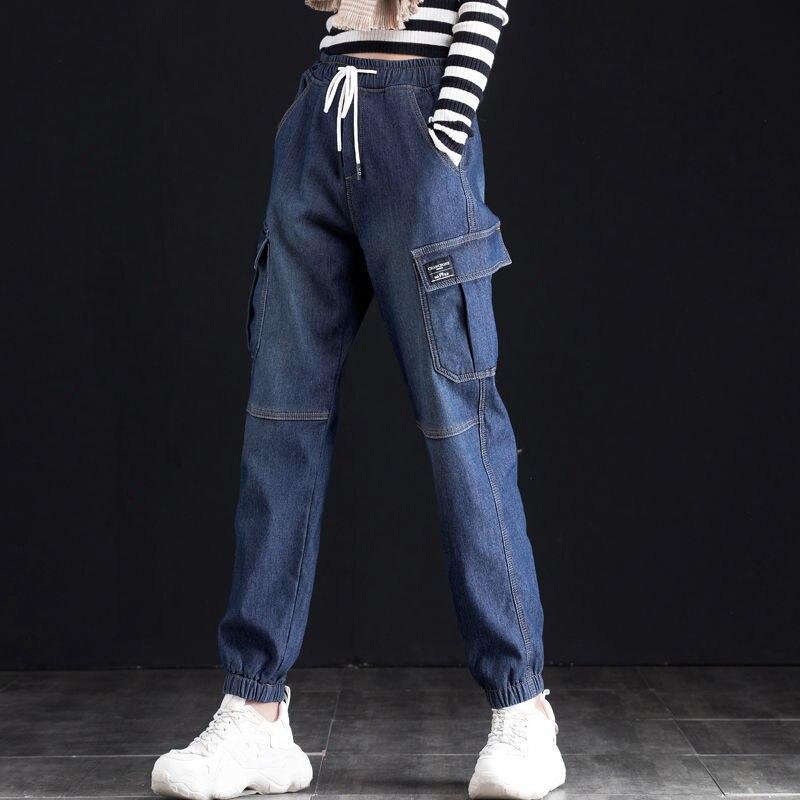 Винтажные женские джинсы, брюки-карго с эластичной резинкой на талии, джинсы с высокой талией, женские осенние свободные джинсы с завязками ...