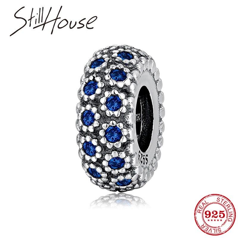Abalorios azules de cristal CZ, cuentas de moda novedosa 925, separador de plata de ley compatible con pulseras europeas de mujer, fabricación de joyería fina 2018