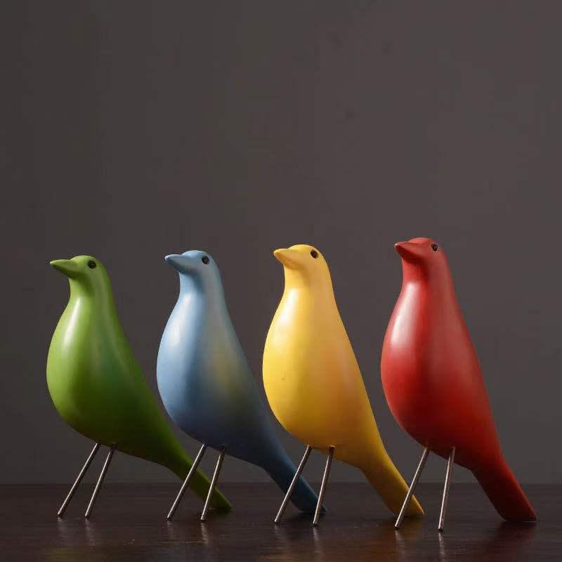 Preto e Branco Sala de Estar Moderno Simples Pássaro Ornamentos Resina Criativo Escritório Modelo Casa Decoração Suave Cor
