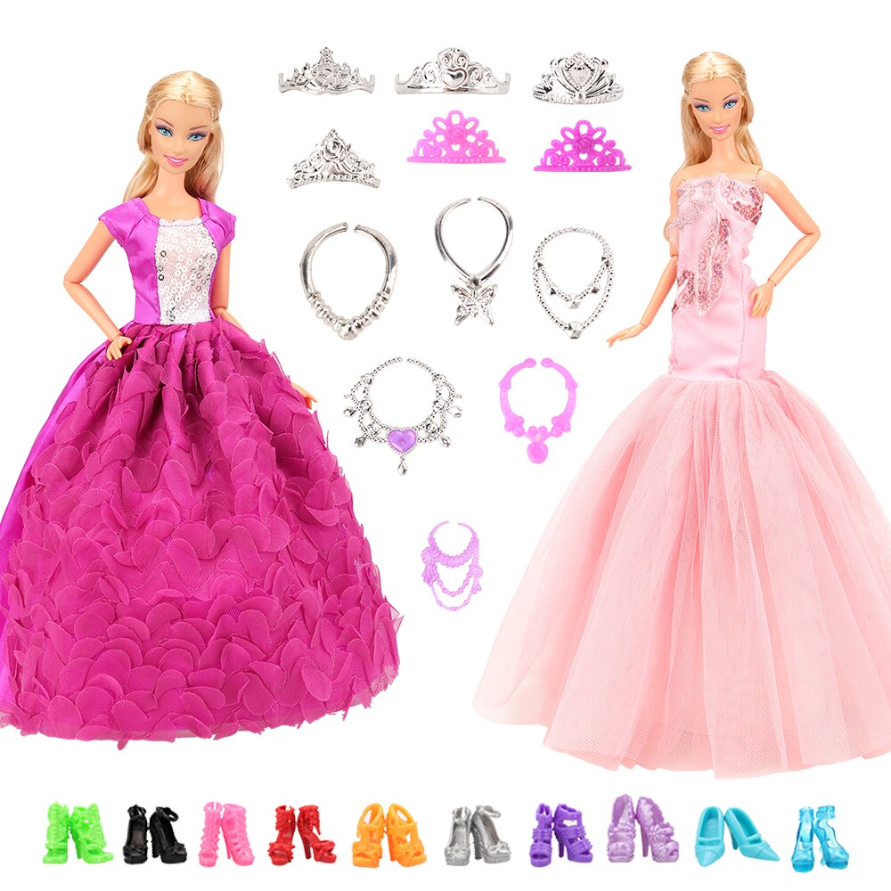 Accessories New 11.5-12 Doll Clothes Long Tail Evening Party Wedding Lace Dress Gift Present For Barbie Outfit Costumes