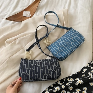 Fashion Printed Handbag Totes Portable Women 2020 Canvas Shoulder Underarm Bags Female Pearl Vintage Street  Messenger Handbags