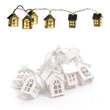 Dom drewniany girlanda żarówkowa led 2m 10 led lekka lampa Garland świąteczne wesele świąteczne lampki świetlne drewniana wisząca dekoracja