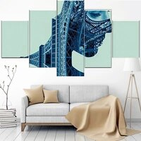 5 pieces wall art canvas painting abstract paris face tower modern living room modular pictures framework home decoration