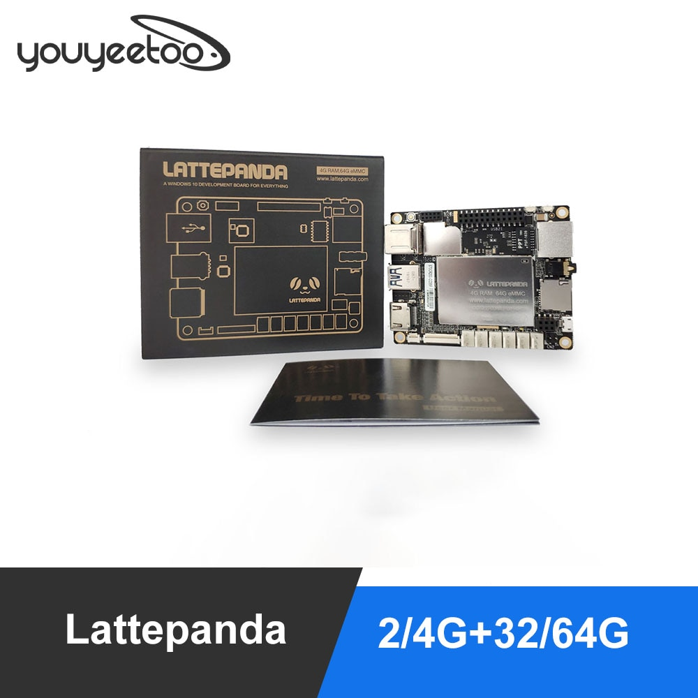 Lattepanda-لوحة Intel X86 X64 Z8350 Quad Core ، 4G 64GB ، 1.8GHz ، windows 10/Linux ، arduino atmega32u4 ، التعلم العميق