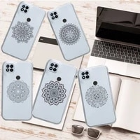 retro art lines mandala flowers phone case transparent for xiaomi redmi note 8 9 10 11 t lite pro ultra mix 4 k40