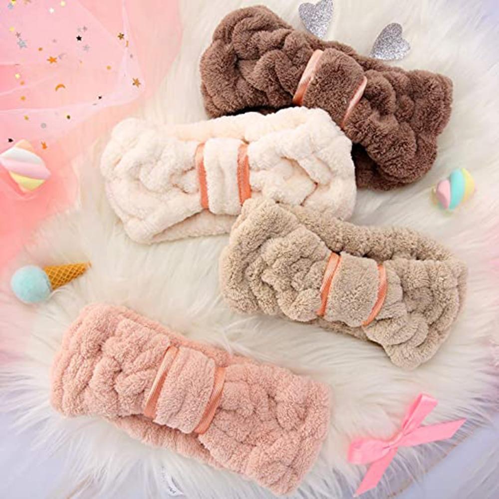 2021 Women Girls Wash Face Headbands Solid Color Soft Coral Fleece Makeup Elastic Hair Bands Headwea