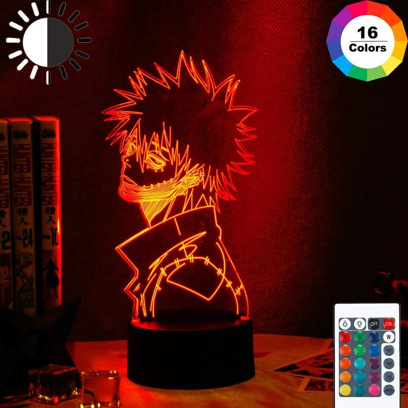 Acrílico 3d lâmpada anime meu herói academia dabi led luz para decoração do quarto legal mangá presente para ele rgb colorido noite luz dabi