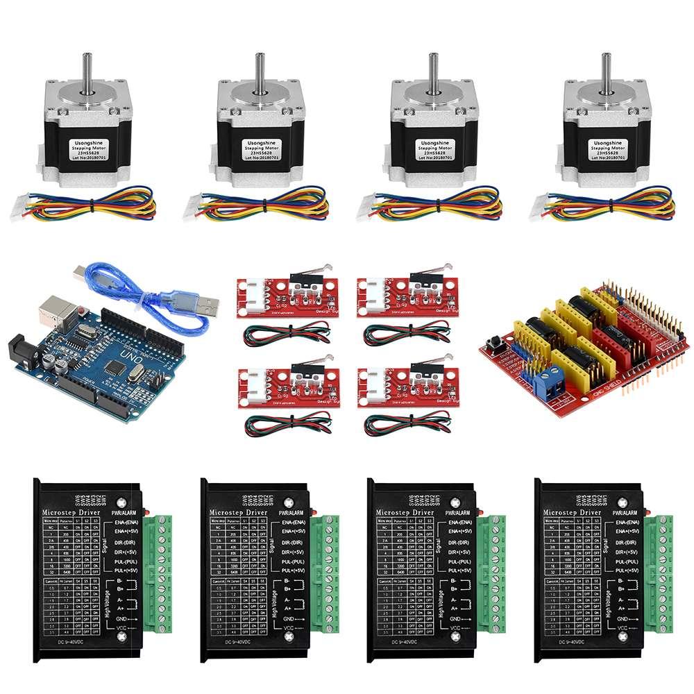 مجموعة CNC للطابعة ثلاثية الأبعاد ، مع درع تحكم ، 4 * Nema 23 محركات متدرج 4 * TB6600 4 * مفاتيح محدودة-6.35/8 مللي متر