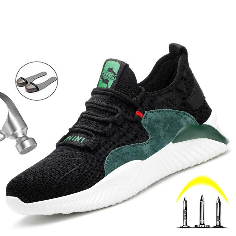 2021 الرجال أحذية أمان العمل حذاء رياضة ثقب برهان غطاء صلب لأصبع القدم النساء مكافحة سحق أحذية السلامة خفيفة الوزن حجم كبير 36-48