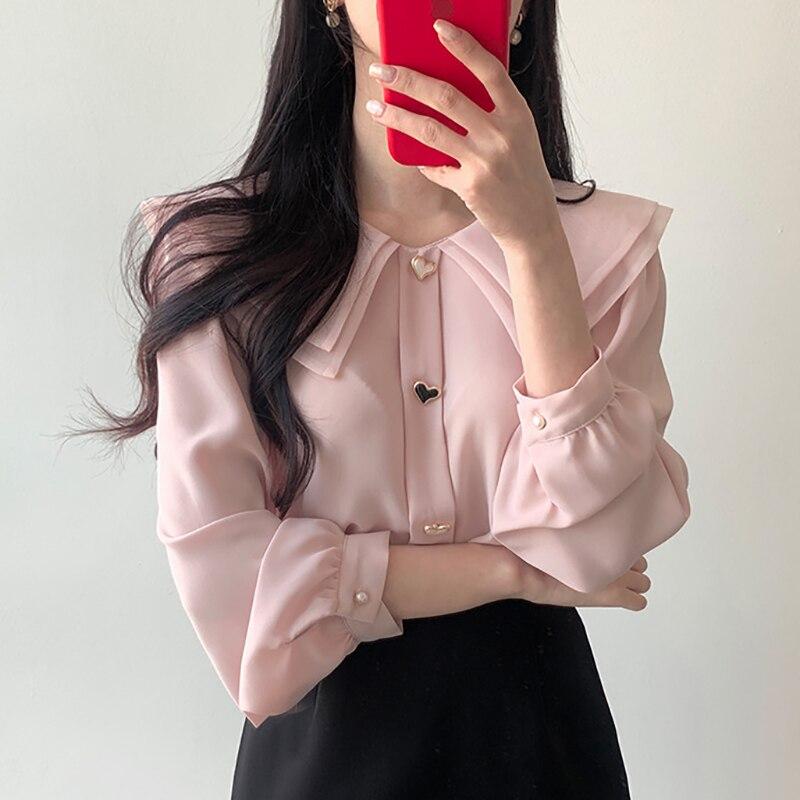 Shintimes botão branco blusa casual mulher roupas 2020 vogue outono rosa camisa de manga comprida mulheres chemisier femme blusões de mujer
