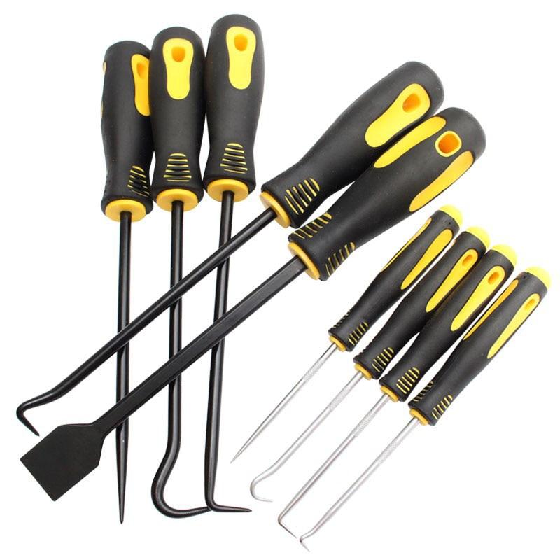 Juego de 9 piezas de raspador, gancho y selección, sello de aceite, herramienta de reparación de destornillador