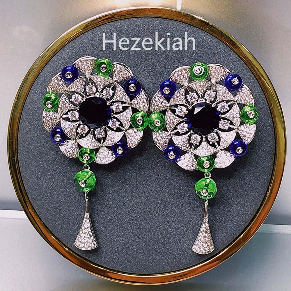 Hezekiah الفاخرة السيدات أقراط الزفاف الزفاف الراقية المشاهير زهرة الضوء الأزرق البذخ 2021