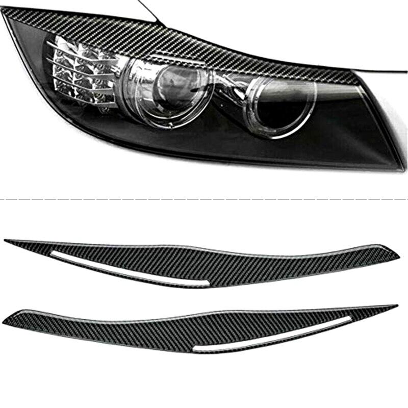 Car Headlight Lid Eyebrow Headlight Eyelids Decoration For-BMW 3 series E90 E92 325i 320i 318i 2005-2012