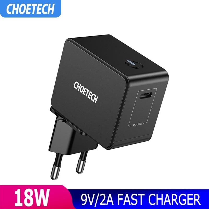 CHOETECH 18W Charge rapide 3.0 USB chargeur PD 3.0 chargeur de téléphone mural pour iphone Samsung Galaxy S9 Huawei Mate P20 chargeur rapide