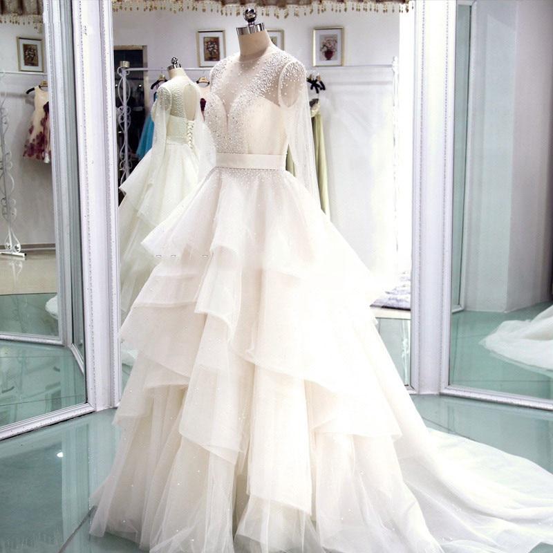 Недорогие свадебные платья 2019 с длинным рукавом, Роскошные свадебные платья с бусинами в несколько рядов, Robe De Mariage