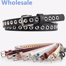 Wholesale Hollow Big Hole Rivet Faux Leather Thin Casual Belts For Women Students Full Grommet Slim Punk Waist Belt Jeans Strap