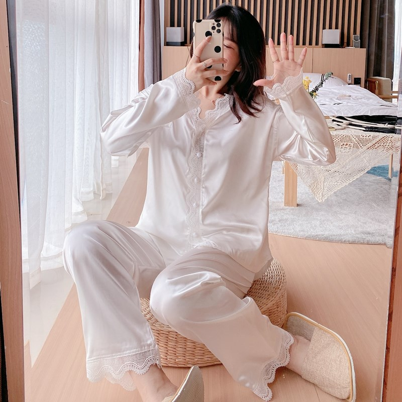Ice Silk Pajamas Womens Spring Summer Long Sleeve Trousers 2Pcs Set Nightwear Korean Thin Simple Fashion Home Wear Sleepwear