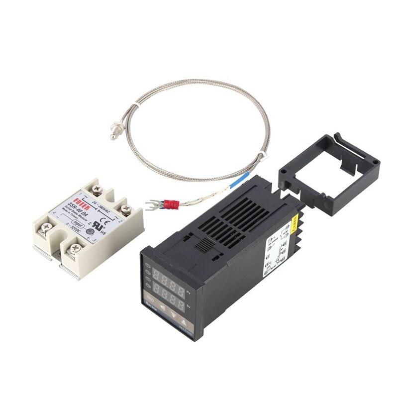 Kit de controlador de temperatura PID Digital de doble pantalla Digital termostato REX C100 + relé SSR 40Da + Sensor de sonda tipo K