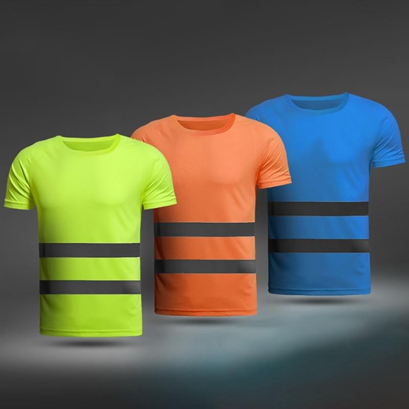 Camiseta fluorescente de verano para correr, trabajo de alta visibilidad, transpirable, amarillo y naranja, camiseta reflectante de trabajo para verano