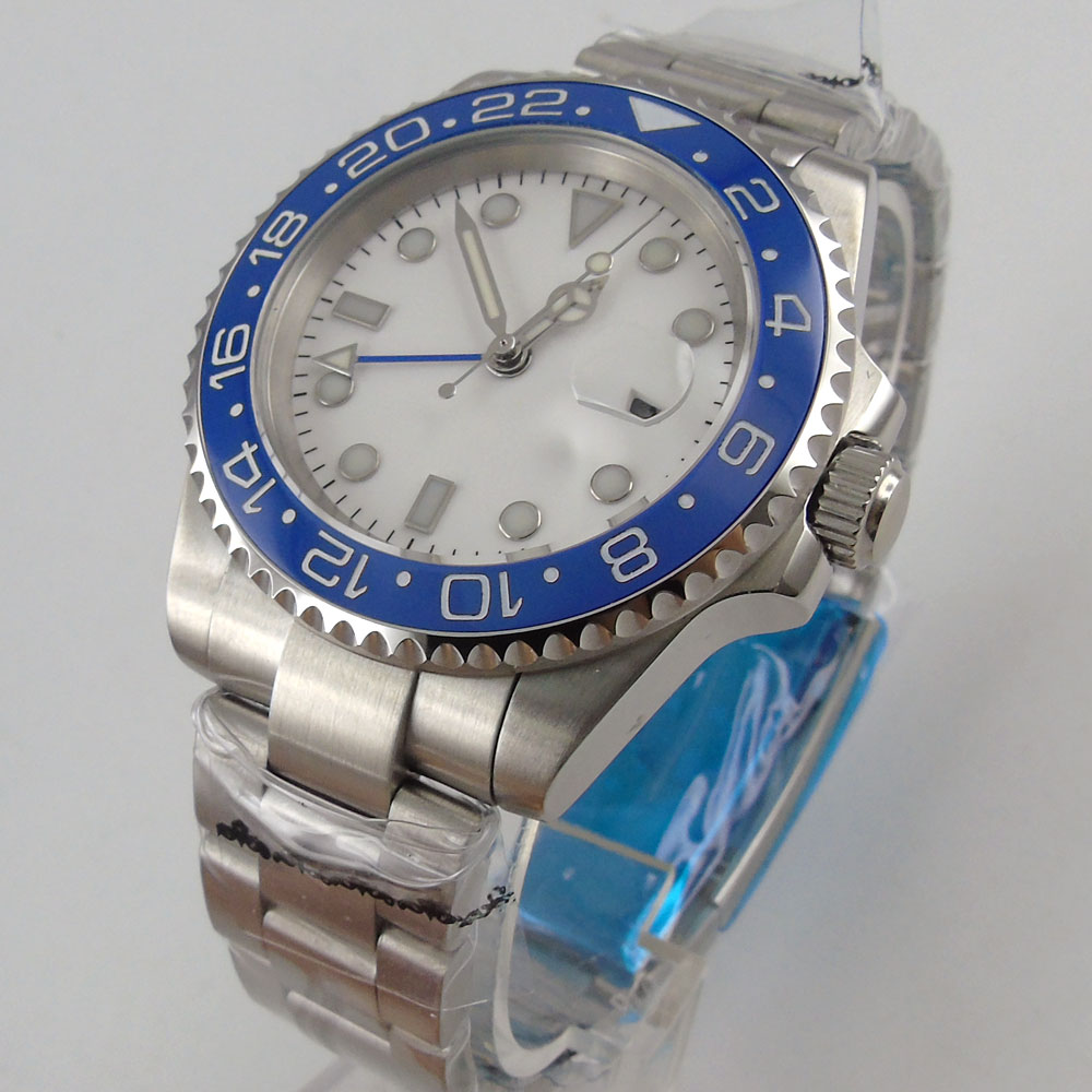 Branco Estéril Dial Azul Gmt Relógio Mecânico Movimento Automático Masculino Cerâmica Anel 40mm