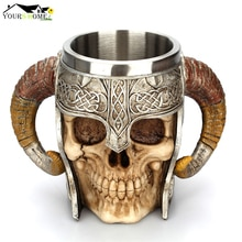 600ml Viking crâne tasse en acier inoxydable café tasses voyage tasse corne boire thé tasse Halloween tasse décoration en céramique Tiki tasse