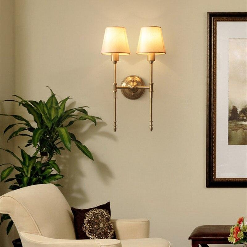 Luz decorativa da parede de cobre design clássico americano fazenda cozinha sala estar cozinha luz arandela luz do corredor