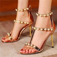 sexy womens patent leather gladiator sandals stiletto high heels pearls strappy open toe party pumps wedding shoes 33 34 46