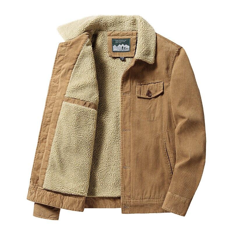 Зимние мужские теплые вельветовые куртки, модные мужские теплые пальто из хлопка, повседневная верхняя одежда, куртки с меховым воротником,...