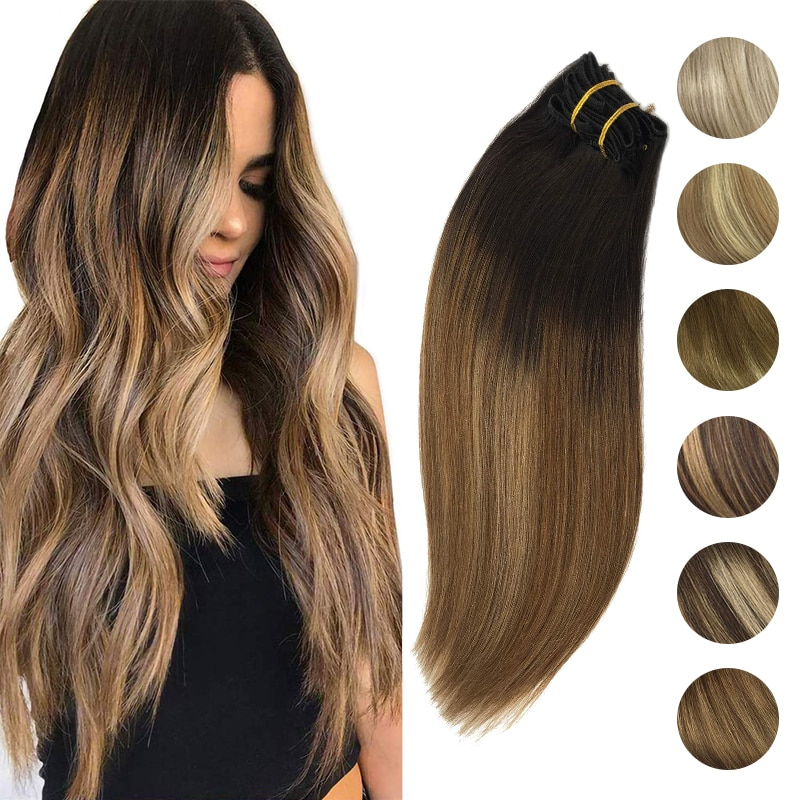 Full Head Clip In Hair Extensions Straight Natural Remy Hair Balayage Color Real Human Clip in Extensions 120g/7Pcs A Set