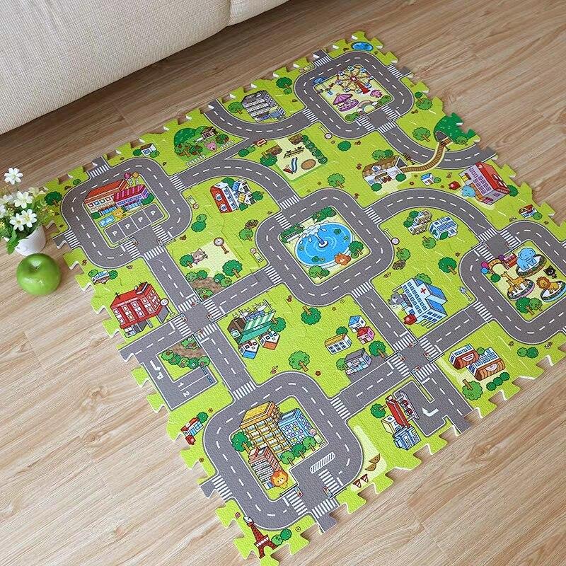 جديد! 9 قطعة الطفل إيفا رغوة لغز لعب الكلمة حصيرة ، مدينة الطريق التعليم و المتشابكة بلاط و المرور الطريق الأرض سادة (لا حافة)