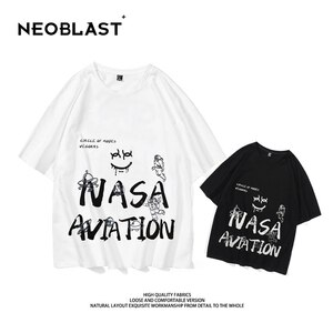 NEW NEOBLAST Oversized Short Sleeve T-Shirt Funny Demonic Graffiti Astronaut Pattern Hip Hop Streetwear Clothing Men's Tops