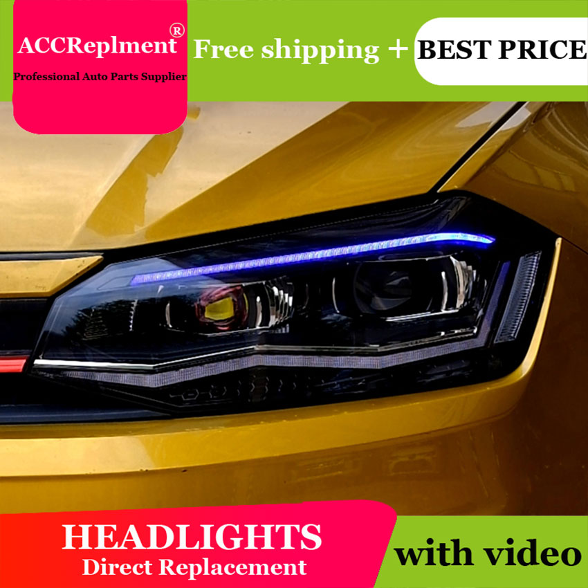 Linterna LED para cabeza de estilo de coche para VW POLO, faros 2019 led, faros de led drl H7 hid bi-xenón, lente de haz bajo