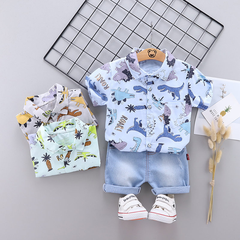 New Baby Boys Out Clothes Summer Children Print Dinosaur Shirt Denim Shorts 2Pcs/sets Infant Kids Fashion Toddler Tracksuits set