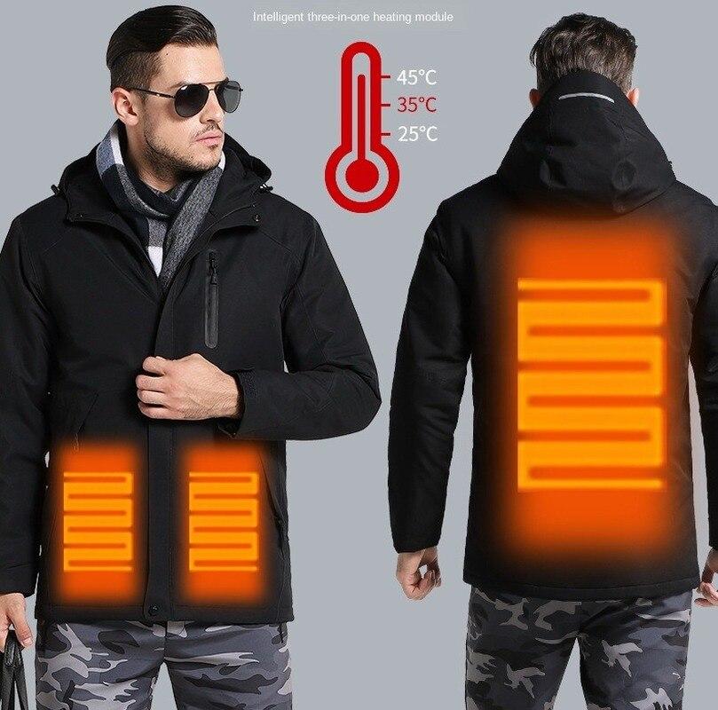 Мужская парка с электрическим подогревом, ветронепроницаемая, теплая, ветрозащитная, с капюшоном, куртки из анорака