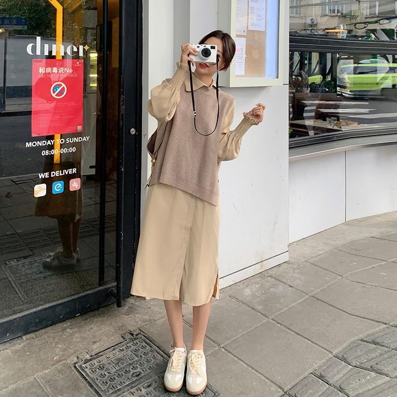 Cpretty ~ 2021 خريف جديد نمط الدهون فتاة جديدة صغيرة المقلية الشارع قطعتين سترة بدلة قميص فستان