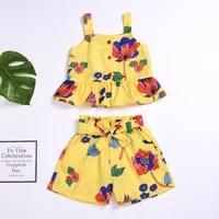 cute baby kids girl summer clothes set off shoulder flower top shirt shorts pants 2pcs outfit set toddler girls causal clothes