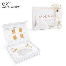 Genuine Jade Stone Massage Natural Quartz Scraper Jade Roller Gua sha Set White Face Lifting Facial Massager Tool for Back Neck