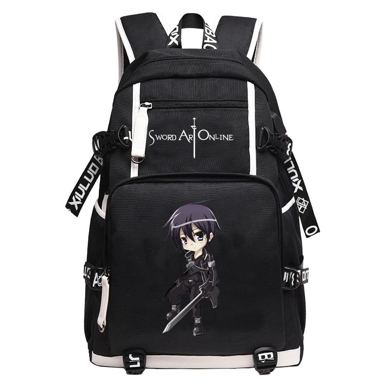 Bolso de animé SAO para estudiantes en el colegio, Sword Art Online, personalidad creativa de moda con mochila, mochila de gran capacidad para ordenador