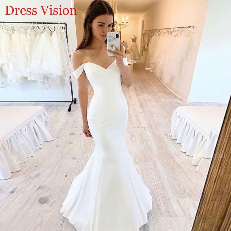 مرونة الساتان فستان الزفاف Vestido دي فيستا رداء دي سهرة فساتين الزفاف فساتين العروس