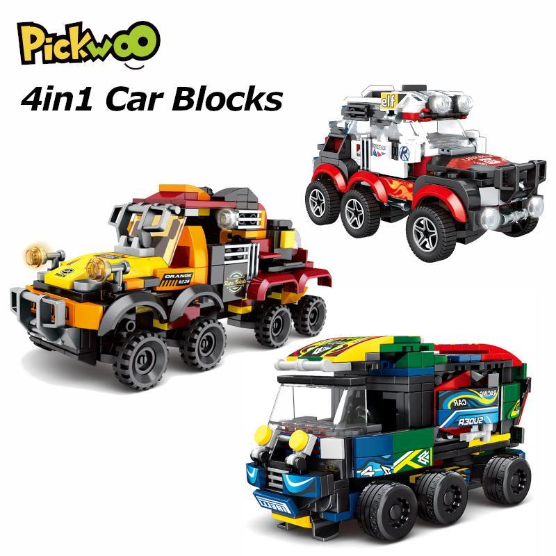 Pickwoo D31 359 to 661 Pcs 4in1 City Car Building Blocks Automobile 4 Sport Super Racers Figures Bricks Children Toys for Kids