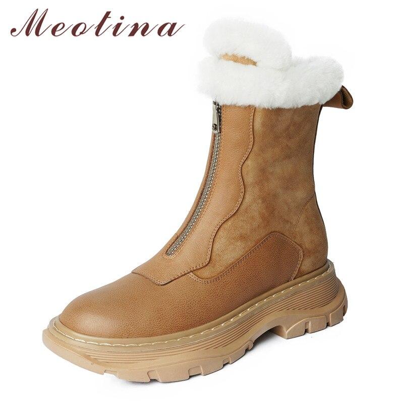 Meotina الطبيعية جلد طبيعي منصة الشقق أحذية بوت قصيرة النساء سستة حذاء من الجلد الأحذية الدافئة الفراء الثلوج الأحذية البني الشتاء