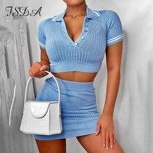 FSDA 파티 두 조각 세트 2020 여름 블루 니트 자르기 탑 V 넥 짧은 소매 및 미니 Bodycon 스커트 캐주얼 여성 의상 섹시한