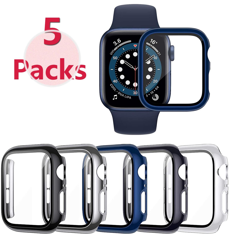 Paquete de cristal + funda para Apple Watch, protector de 44mm, 40mm,...