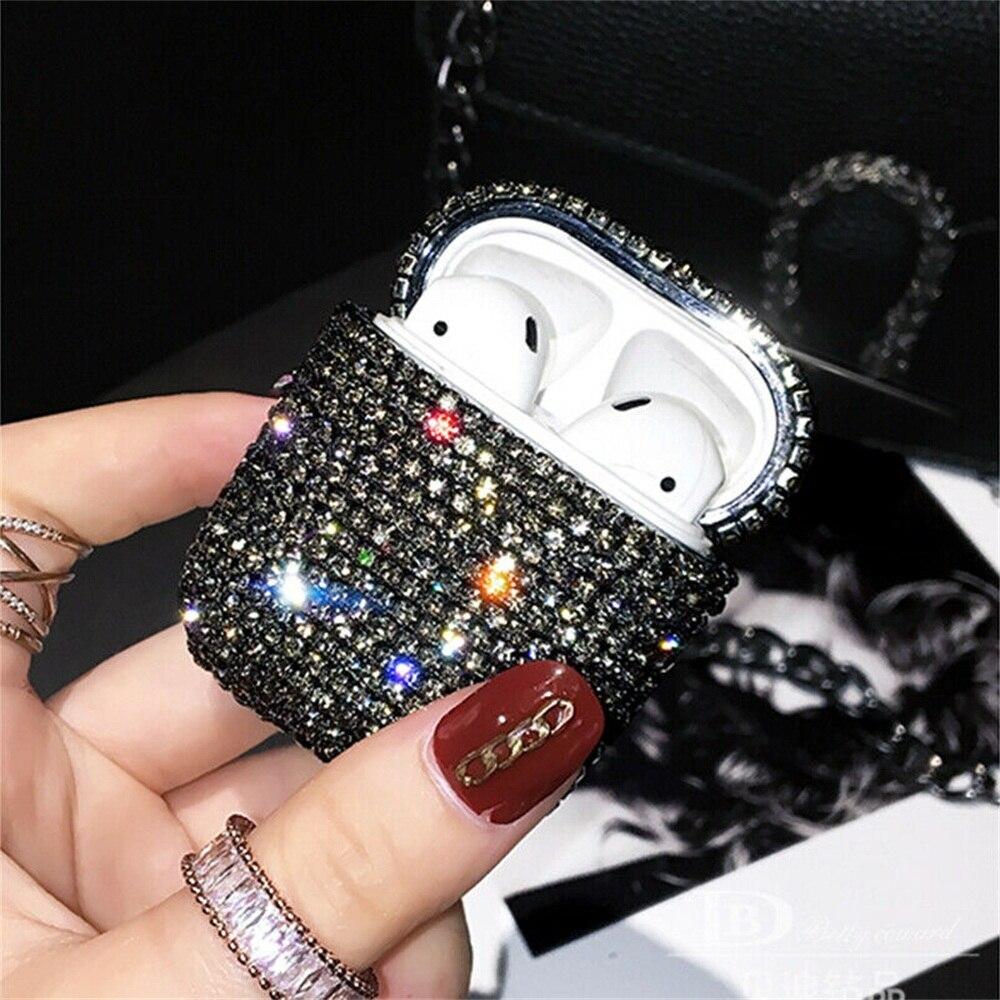 Diamond Hard Earphone Case Cover for Apple AirPods Pro 2 1 Luxury Shining Glitter Rhinestone Bling Women Earphone Accessories