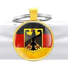 Germany National Flag Emblem Design Glass Cabochon Metal Pendant Key Chain Charm Men Women Key Ring  Jewelry Gifts Keychains