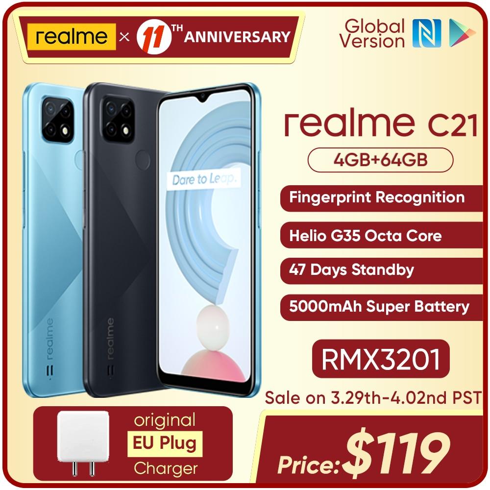 Перейти на Алиэкспресс и купить Смартфон realme C21 глобальная версия, Helio G35 восемь ядер, 4 Гб 64 ГБ, дисплей 6,5 дюйма, аккумулятор 5000 мАч, 47 дней в режиме ожидания, 3 слота для карт