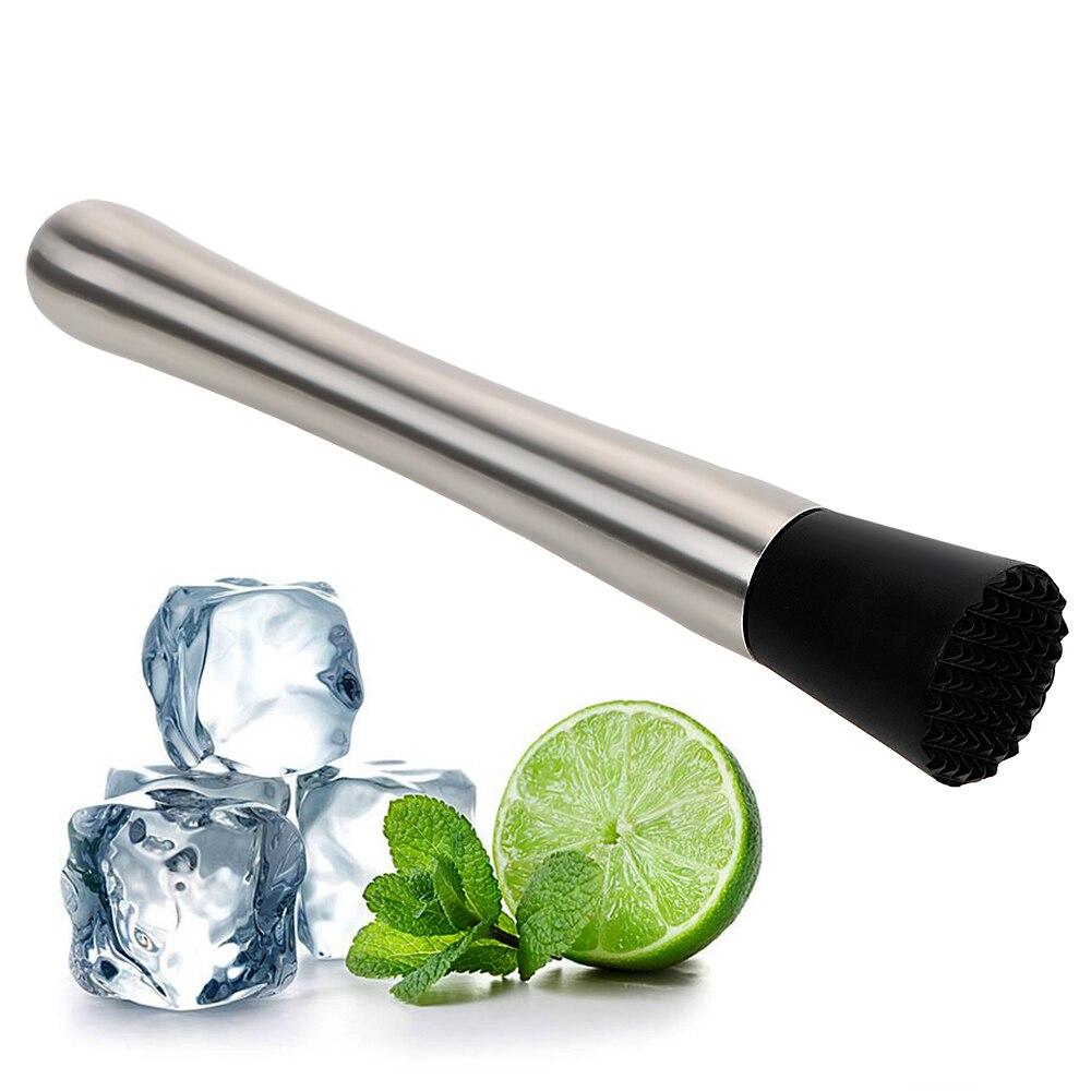 De acero inoxidable Artículos de bar para vino herramientas Swizzle Stick Metal triturador de Cocktail Shaker Gadgets