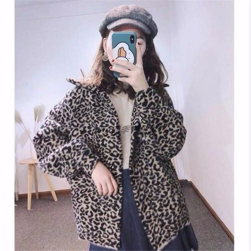 Женское пальто с имитацией меха норки, Свободное пальто с леопардовым принтом, женские кардиганы, зимние свободные облегающие толстые курт...