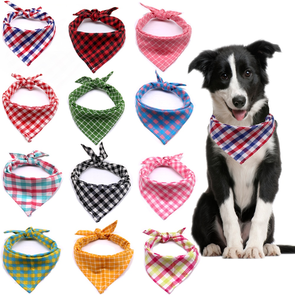 AliExpress - Pets Dog Triangular Bandana Plaid Small Large Dogs Bibs Scarf Fruits Pattern Puppy Kerchief Bow Tie Pet Grooming Accessories
